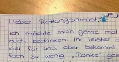 Mädchen schreibt Dankesbrief an Rettungsdienst