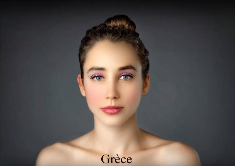 In Griechenland bekommt die Journalistin ein farbenfrohes Make-up verpasst.