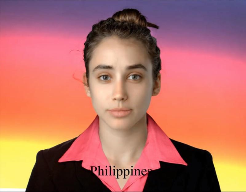 Vom philippinischen Künstler bekam sie nur betonte Lippen und ein Business-Outfit.