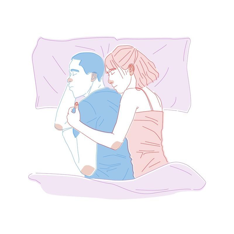 Die bekannte Pose des Löffelchen ist bei vielen Paaren beliebt und zeigt, dass man sich fallen lassen kann. Einer hat in der Beziehung das Sagen