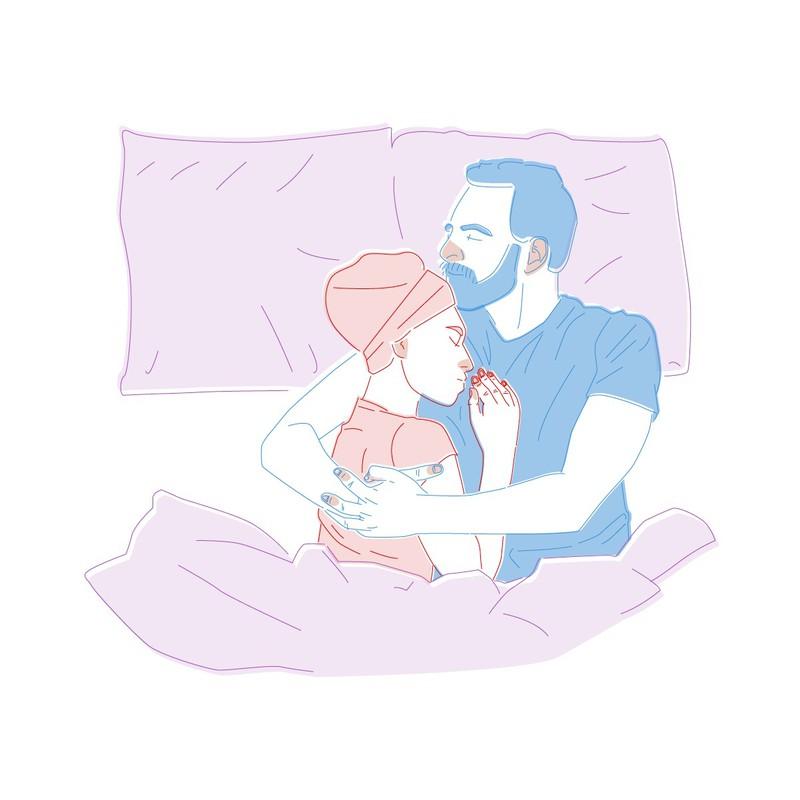 Legt die Frau den Kopf auf seine Brust, dann ist das eine symbolische Geste und zeigt, dass sie ihm vertraut und sich an ihm anlehnen möchte