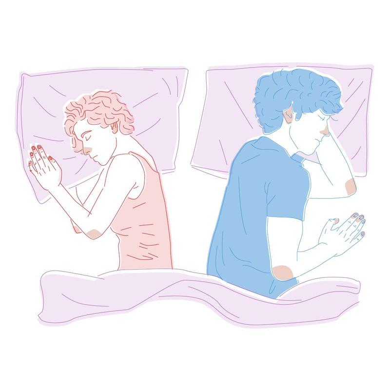 Schläfst du von deinem Partner abgewandt, dann verheißt das nichts Gutes, denn ihr berührt euch auch im Alltag nicht