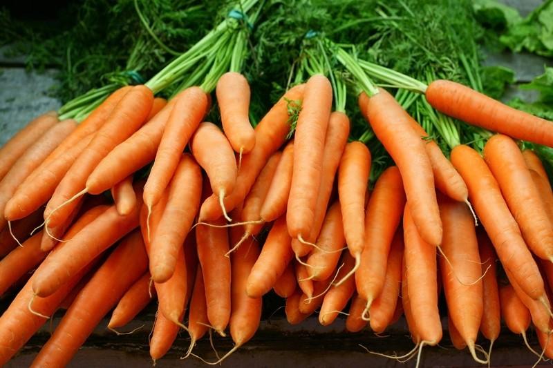 Orange Karotten auf einem Tisch