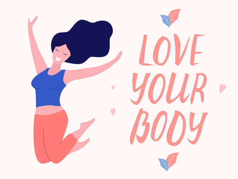 "Illustration, ""Love your Body"", glückliche Frau"