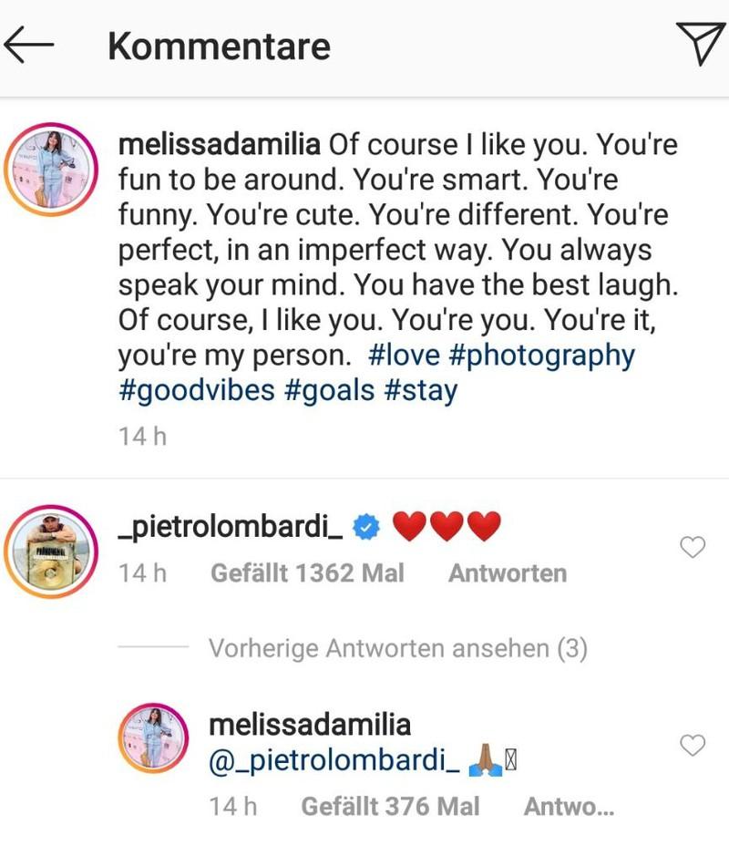 Pietro Lombardi reagiert auf das Paar-Foto von Melissa Damilia