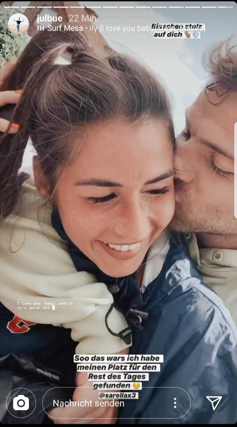 Ein Pärchenfoto, das Julian Büscher und Sarah Lombardi erstmals als Paar zusammen zeigt und ihre Liebe verdeutlicht