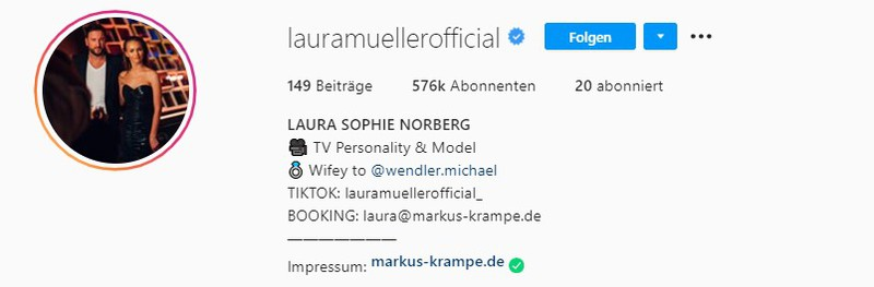 Laura Müller heißt jetzt Norberg auf Instagram