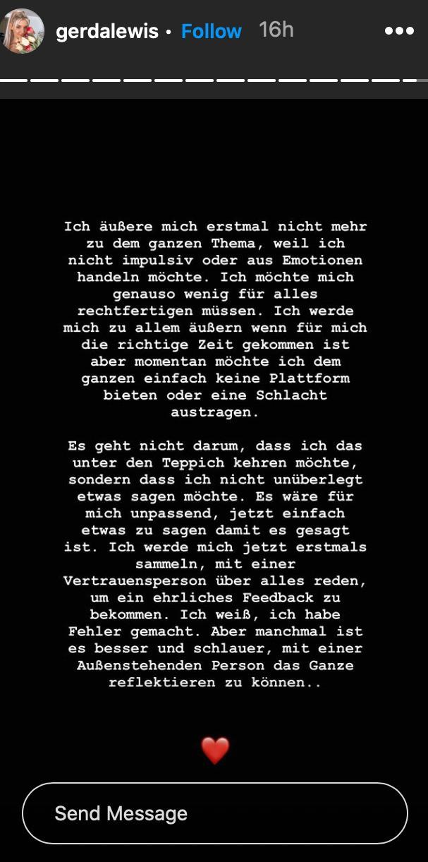 Gerda Lewis meldet sich auf Instagram zu Wort und äußert sich zu dem BFF-Streit.