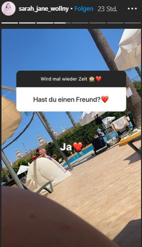 Auf Instagram sagt Sarah-Jane Wollny, dass sie einen neuen Freund hat