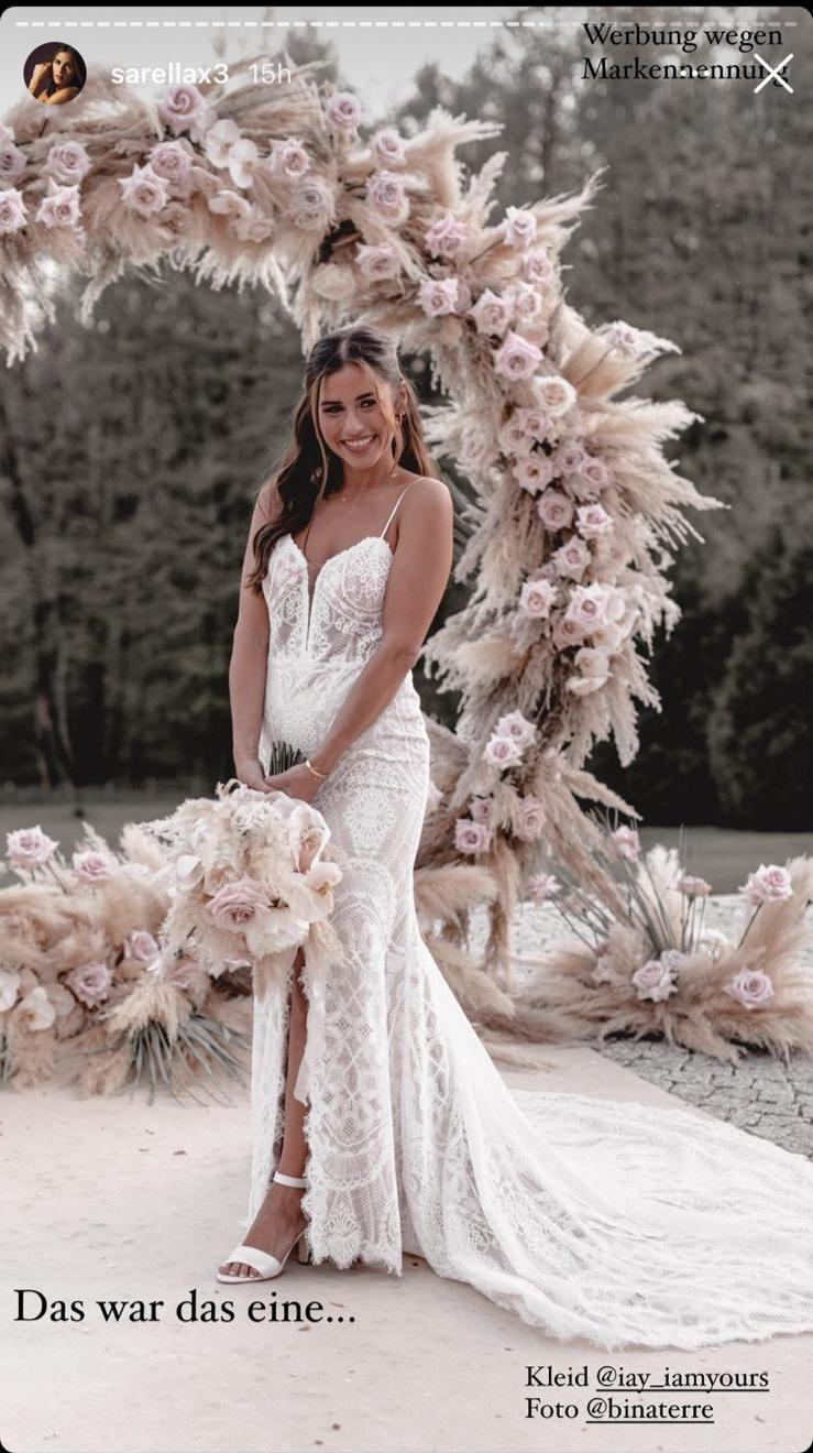 Auf Instagram zeigte Sarah Engels ,wie bezaubernd ihr Brautkleid war und erzählte, wo sie geheiratet hat