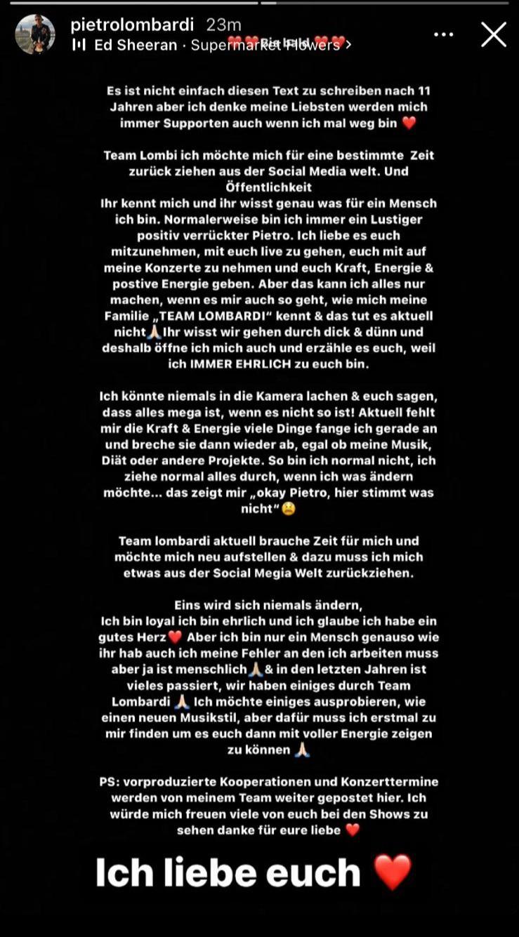 Pietro Lombardi hat in seiner Story auf Instagram ein Statement zu seiner Entscheidung gepostet