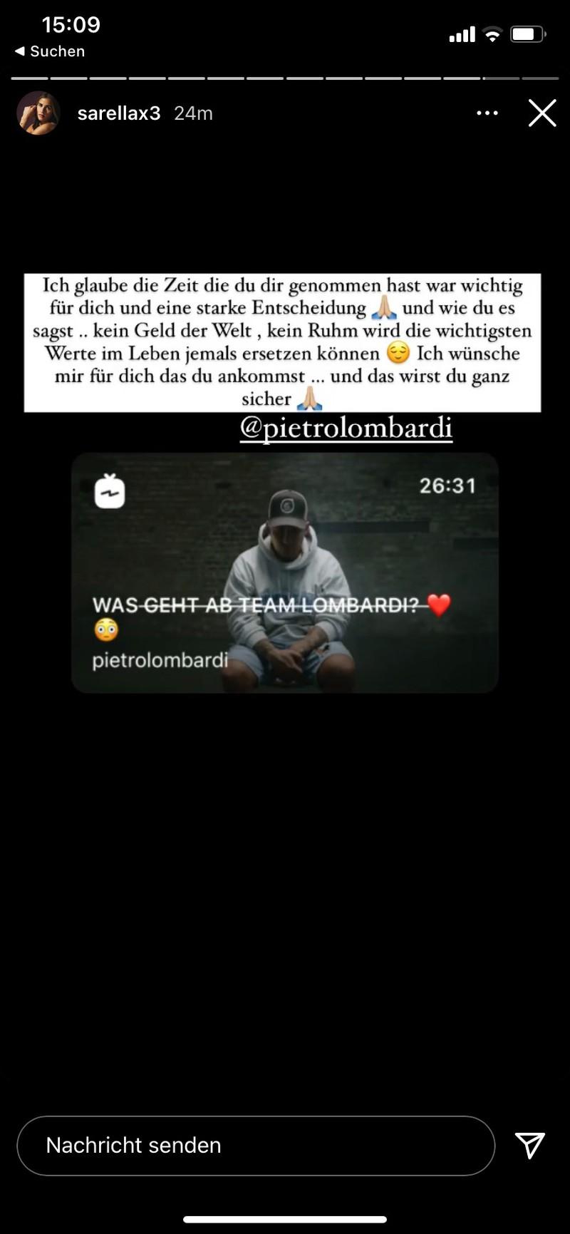 Sarah reagiert auf Instagram auf Pietros Interview.